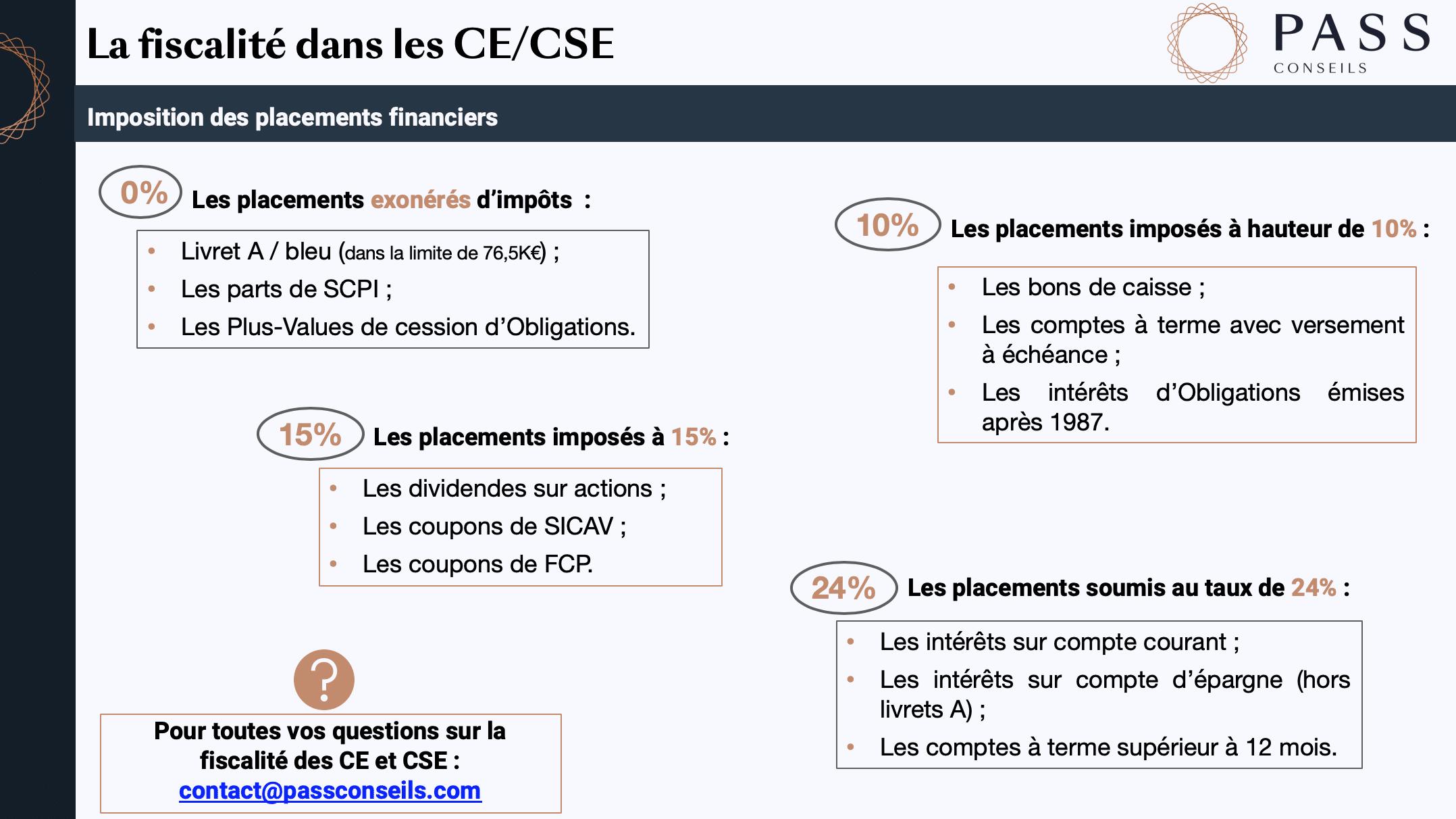 fiscalité CE/CSE impots